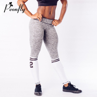 PEONFLY גריי הלבן מעשה טלאים חותלות כושר חדש 2017 נשים גבוה מותן באורך קרסול הדפסת צועד Slim מכנסיים ספורט אימון