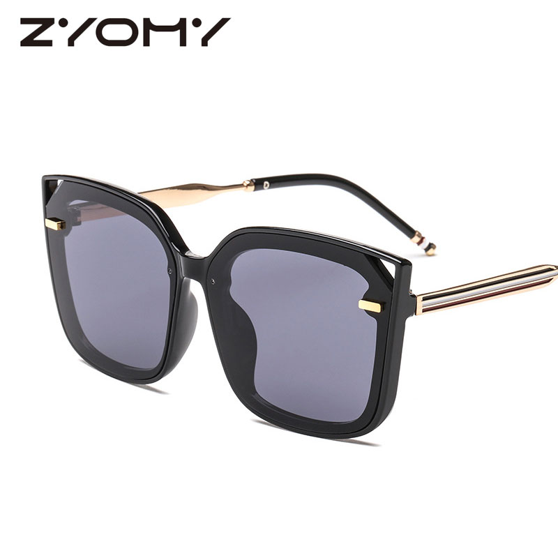 Q ZYOMY HD Lens Cat Eye Women Eyewear Big Frame Men Sunglasses Brand Designer UV400 Oculos De Sol Driving Goggles Sun Glasses