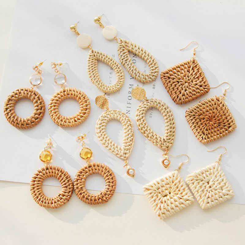 Newest Fashion Korean Style Women's Rattan Knit Wooden Drop Earrings Bohemian Round Square Geometric Crystal Dangle Earring Gift