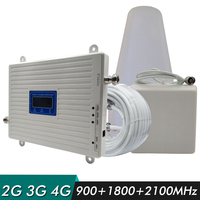 2G 3G 4G Tri Band Signal Booster GSM 900+DCS/LTE 1800+WCDMA/UMTS 2100 Cell Phone Signal Repeater Cellular Amplifier Antenna Set