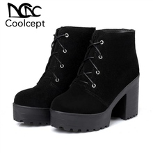 CoolCept High Heels Ankle Boots Real Leather Lace Up Square Heeled Platform