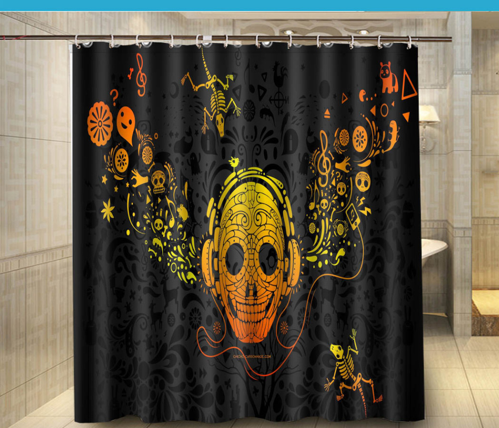 Jolly roger shower curtain - Abstract Music Pirate Fashion Shower Curtain 180x180cm Waterproof Mouldproof Shower Curtain Decor Bathroom China