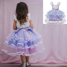 European and American princess bubble unicorn Mesh gauze girls dresses elegant baby girl kids clothes