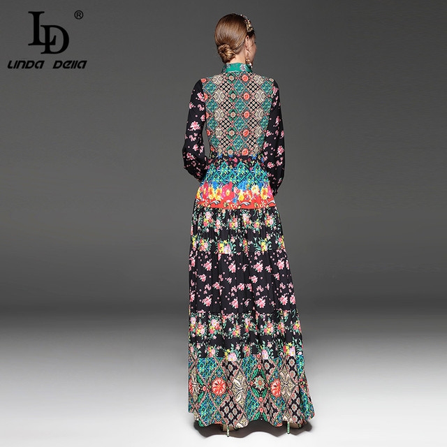 Long Sleeve Bow Collar Party Floral Print Vintage Long Dress