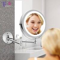 Led макияж зеркало с свет складной двойной настенный изящный 10x Зарядка через usb Touch яркий регулируемые зеркала