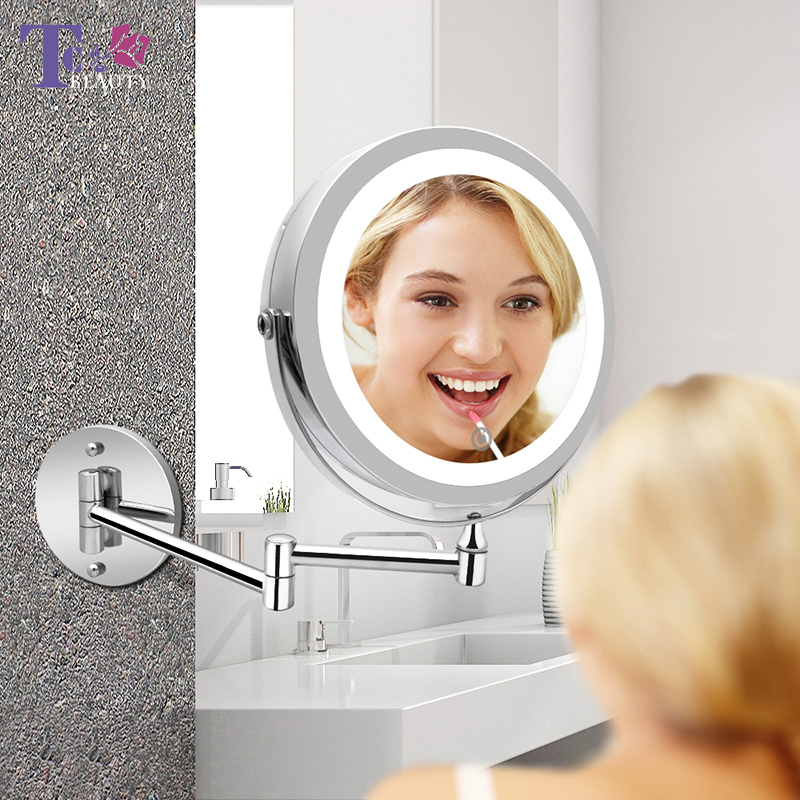 Led Makeup Mirror With Light Folding Double Wall Mount