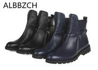 Модные туфли с пряжкой с круглым носком молния дизайнер натуральная кожа мужские ботинки высокого качества из коровьей кожи мужские рабочи
