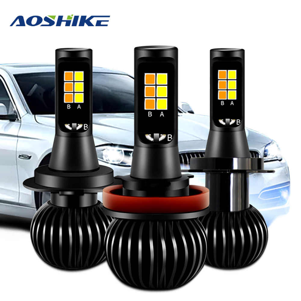 AOSHIKE 2Pcs X5 Led Headlight Bulbs Car Headlamp 40W 5200Lm Auto 6000K White Yellow Fog Light DC 12V 24V 40w 5200LM