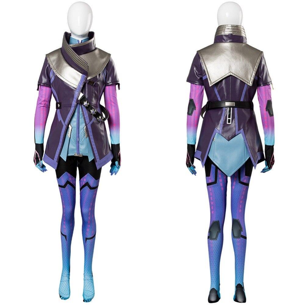OW Cosplay Adult Women Sombra Hacker Cosplay Costume Purple Coat Jacket Dress Suit Jumpsuit Halloween Cosplay Costume