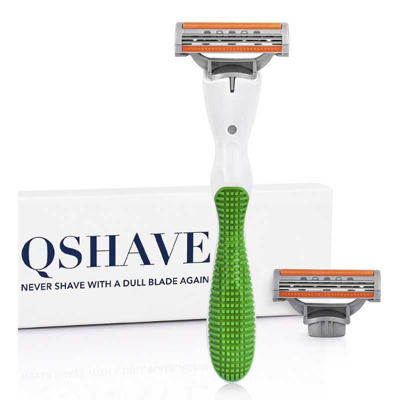 Qshave Women Bikini Shaving Razor For Green Venuse Lady Birthday Valentine Sister Gift , 1pc Razor Handle & 2pcs X3 USA Blade