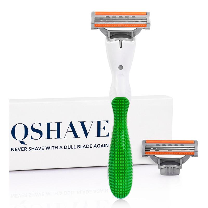 Qshave Women Bikini Shaving Razor For Green Venuse Lady Birthday Valentine Sister Gift , 1pc Razor Handle & 2pcs X3 USA Blade
