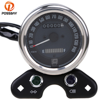 POSSBAY Motorcycle Dual Odometer Speedometer Gauge With USB Port Universal fit for Most Motorbike Scooter Dual Speed Meters