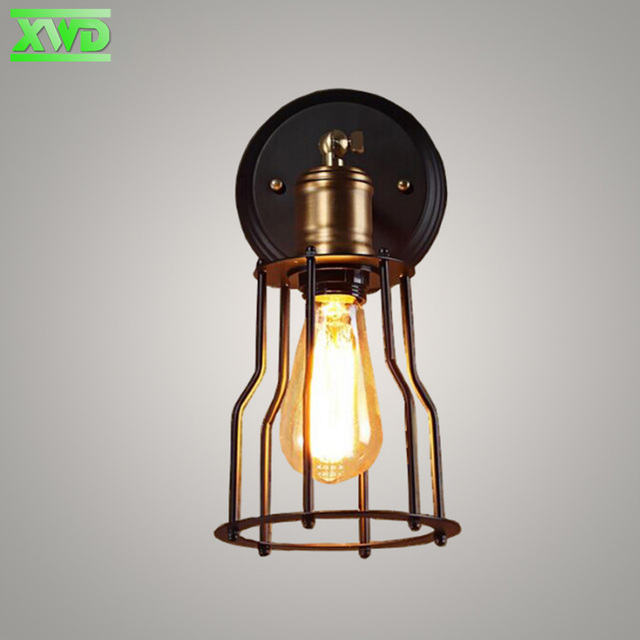 Single Head Vintage Iron Cage Wall Lamp Coffee House/Dining Hall/Foyer/Shop Indoor Lighting E27 110-240V  Free Shipping
