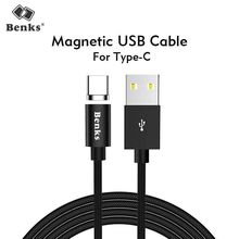 Benks Nylon Magnetic Charge Cables Type-C For Samsung S8 Huawei P10 Plus Xiaomi Android Universal USB C Fast Charging Cable 1.2M