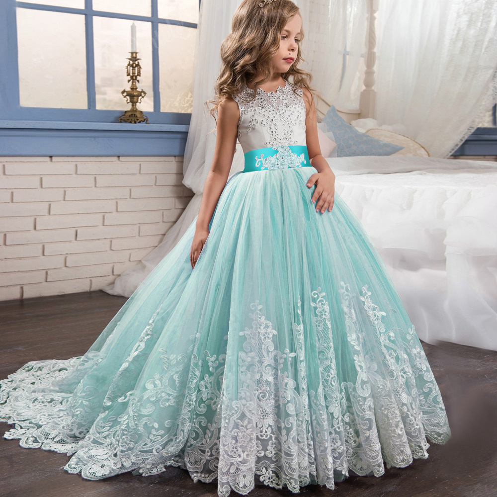 Teen Girls Princess Dress 2018 Tule Children Formal Wedding Gowns Lace Party Pageant Dresses Bridesmaid Evening