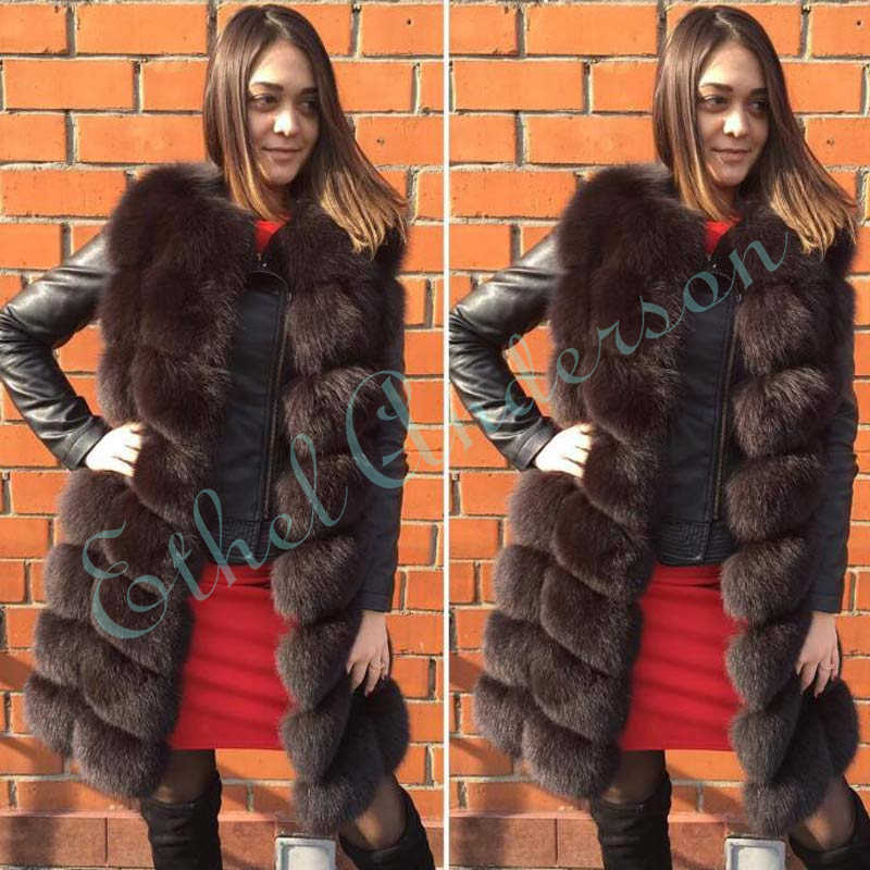 Ethel Aderson 90CM Lange Echte Natürliche Fuchs Pelz Mantel Echt Ganze Haut Fuchs Winter Pelz Weste Für Frauen Dicke gilet Weibliche Mantel