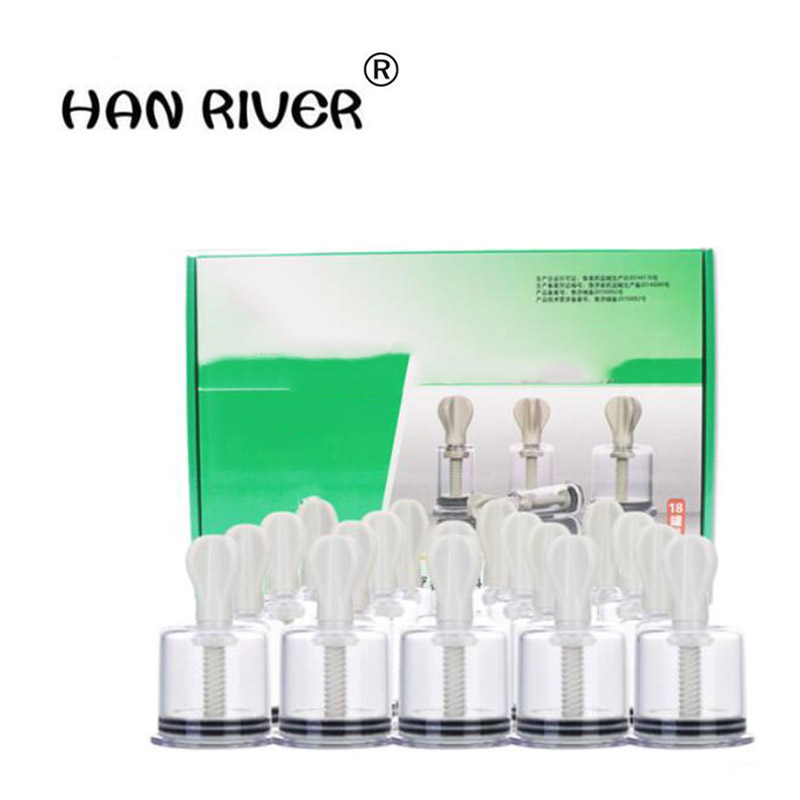 HANRIVER Hand twist type cupping apparatus 18 household extraction tank type vacuum cupping tank rotary magnetic therapy цена
