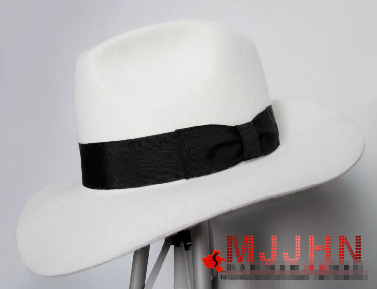 1d2a44cecb511 Classic MJ Michael Jackson Smooth Criminal With Name White FEDORA Wool Hat  Trilby Collection-in Scarf