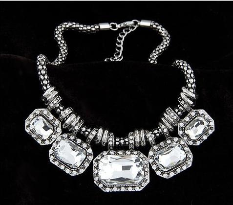 New Statement Choker Vintage Charms Collar Fashion Rhinestone Necklace Crystal Gem Necklaces&Pendants Women Fine Jewelry 450