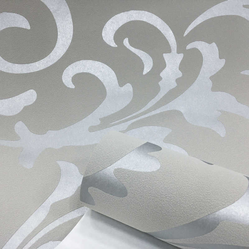 رمادي ثلاثية الأبعاد الدمشقي الفيكتوري تنقش خلفية لفة ديكور المنزل غرفة المعيشة غرفة نوم أغطية الحائط الفضة الأزهار الفاخرة ورق حائط