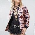 2017 Chegada Nova Primavera Outono Moda estilo Rosa Flor de Impressão em Cores Femme Manche Longue Bombardeiro Jaqueta De Cetim Mulheres Casaco C117
