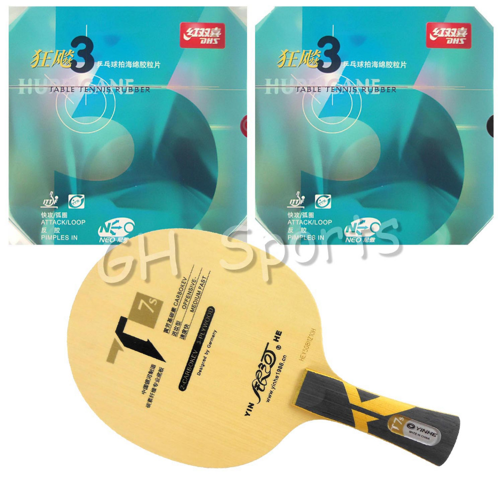 Pro Table Tennis (PingPong) Combo Racket: Galaxy YINHE T7s Blade with 2x NEO Hurricane 3 Rubbers Long shakehand FL pro table tennis pingpong combo racket galaxy yinhe t7s blade with 2x sanwei t88 iii rubbers shakehand long handle fl