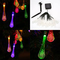 20LED Solar Powered Raindrop Icicle Flexible Strip Light w/Battery Box Party