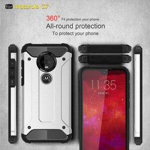 Image 1 - 10PCS מוקשח כיסוי עבור MOTO P40 הערה P30 כוח Z4 לשחק G7 בתוספת G6 E5 היברידי קשיח כפולה קשה שכבה שריון עמיד הלם טלפון מקרה