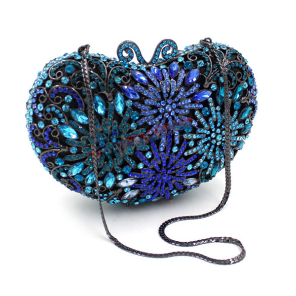 Women Flower heart Evening Bags blue bridal Wedding Clutch purse Luxury Crystal day Clutches Diamond Party Bag for women gifts