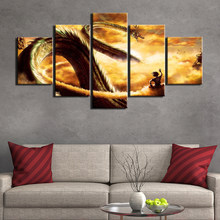 drop shipping 5 panels Dragon Ball Print Poster Framed Paintings on Canvas Wall Art for Home Decor Wall art posters and print(China)
