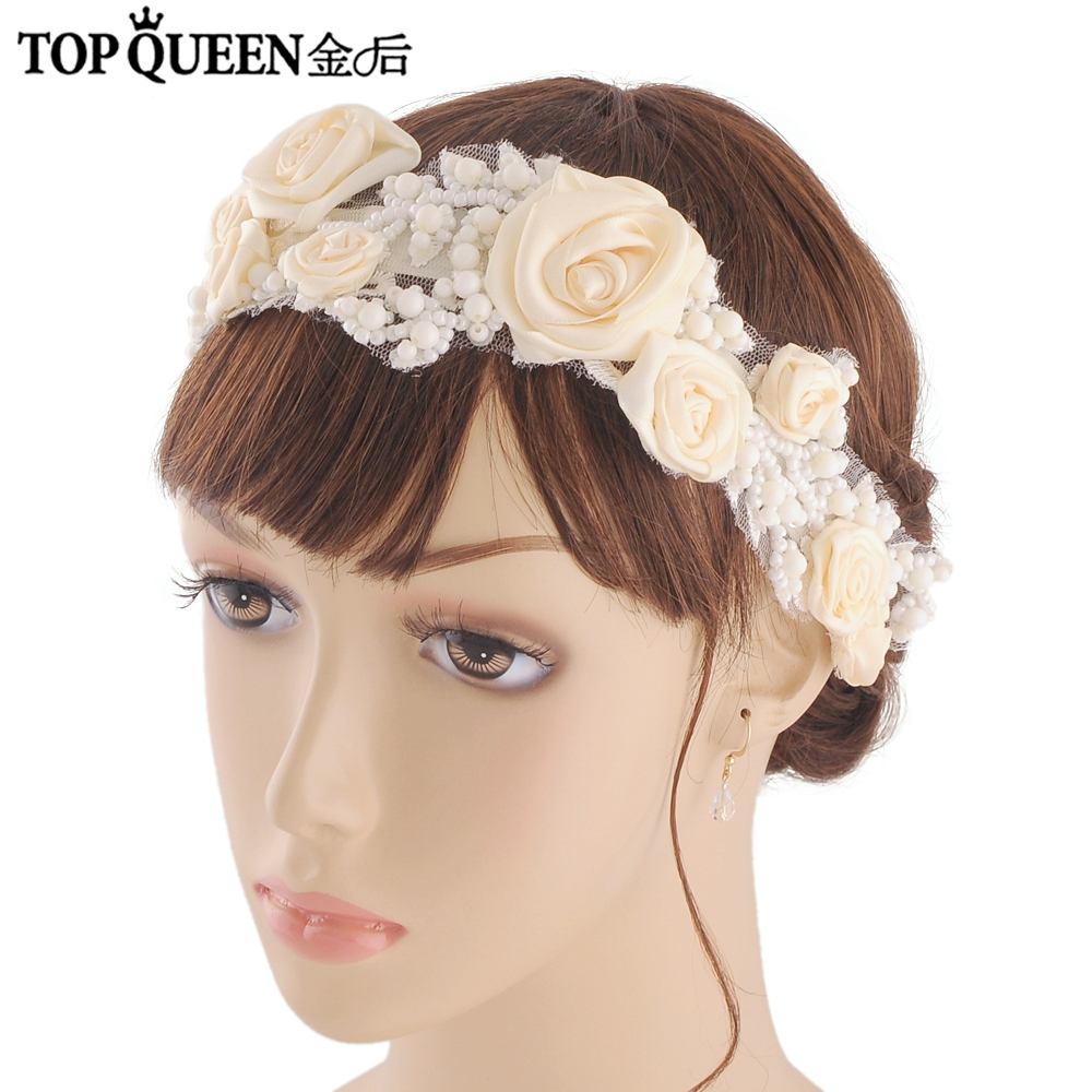 TOPQUEEN H323 Fashion Headband Beaded Hair Accessories Flower Hairdress With Pearl Wedding Bridal Hairpiece Flower With 2 Colors