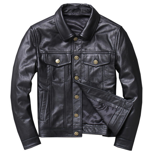 0f5a7faaa05 2019 Black Men American Casual Style Leather Jacket Plus Size XXXXXL Genuine  Cowhide Russian Spring Natural Leather Coat