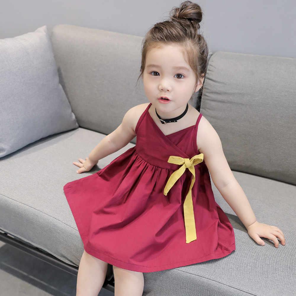 Moda para niñas pequeñas vestido de princesa de verano lindo bebé fiesta boda sin mangas vestido sólido ropa verjaardag meisje 2019