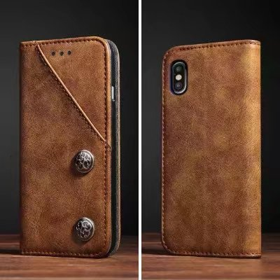 Vintage Magnetic Leather Flip Case Card Slot for Samsung Galaxy S8 Plus NOTE 8 Iphone X 6 6s 7 8 Plus Wallet Cover Bag Bronze