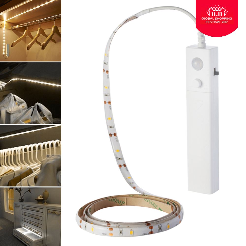 1 Meters 60leds Led Strip Motion Activated Night Light Flexible LED Flashlight Strip Motion Sensor Automatic Bed Stair Lights motion activated blue light 7 led message display wheel lights for bikes and cars
