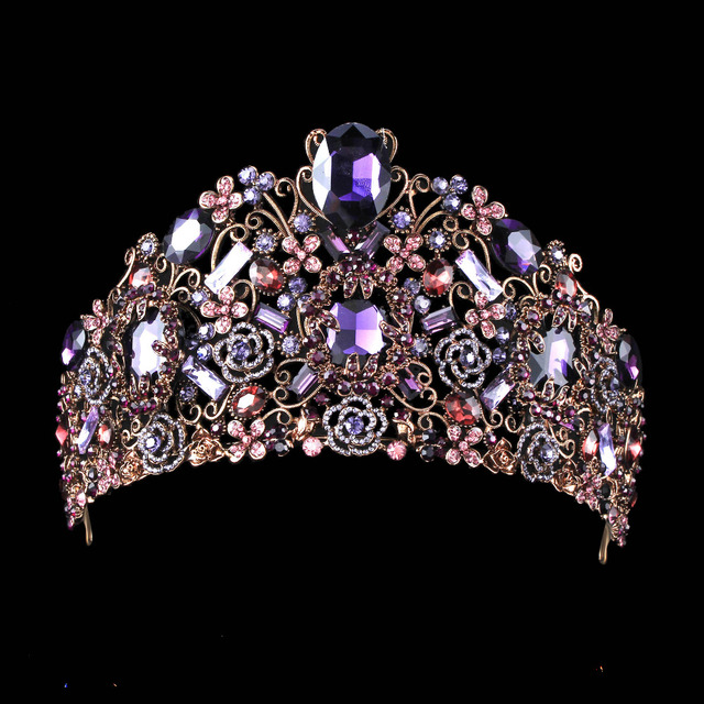 Luxury Tiara With Purple Crystals