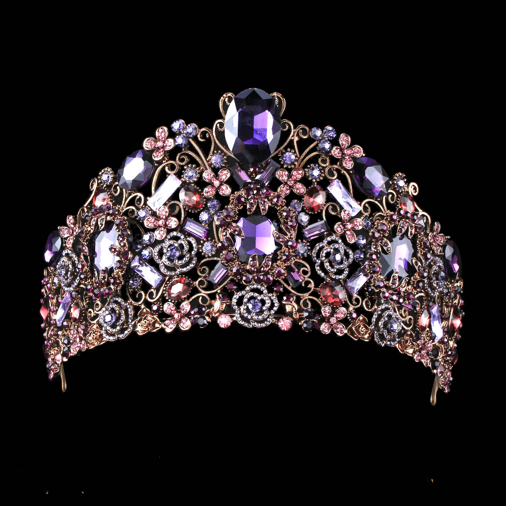 Prix pour Main De Luxe Noir Baroque Style De Mariée Violet Cristal Couronne Diadème Coiffes de Soirée Cheveux Accessoires