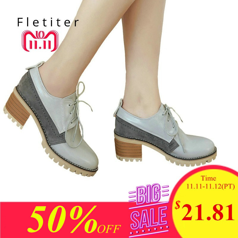 High Heels Oxford Shoes For Women Autumn Thick Heel Women Pumps Shoes Brogues Oxford Woman Casual Shoes British Style Lace Up oxford borboniqua oxford