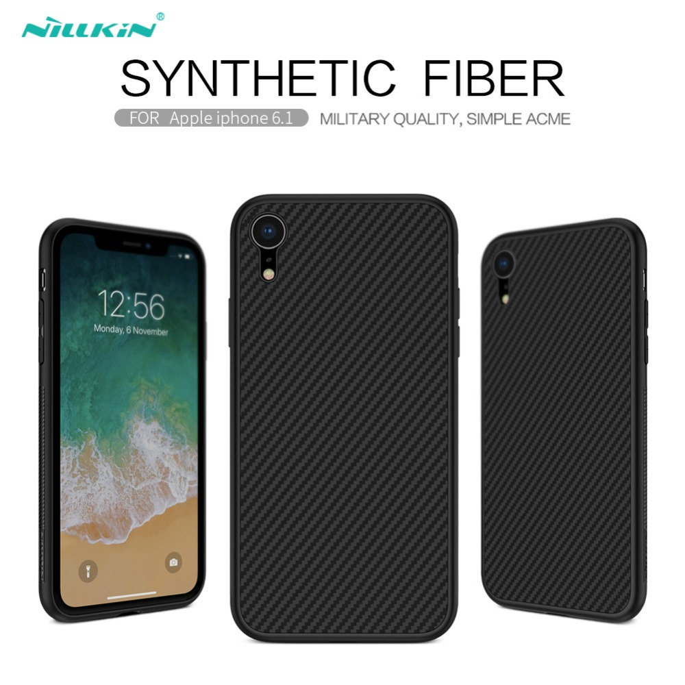 Nillkin synthetic fiber case for iphone xr 6.1 inch case Carbon Fiber PP Plastic Back Cover Case