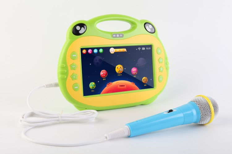 Android 7 inch tablet Kids karaoke machine 2 Microphone HDMI jack free download APP Children learning
