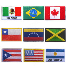 Embroidery Patches America Puerto Rico United States Argentina Mexico Brazil Canada Chile Venezuela Jamaica Cuba Dominican Flag(China)