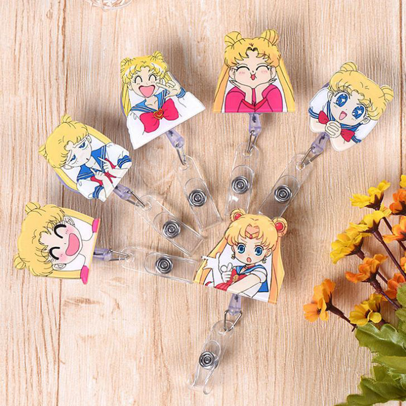 1 Pcs Cute Anime Sailor Moon Retractable Badge Reel Student Exhibition ID Name Doctor Nurse Card Badge Holders Clips Stationery