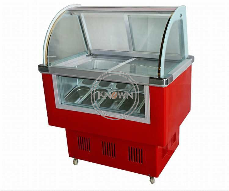 2019 Popular 10 Square Pans Ice Cream Display Showcase  Freezer Commercial  Ice Cream Display Cabinet