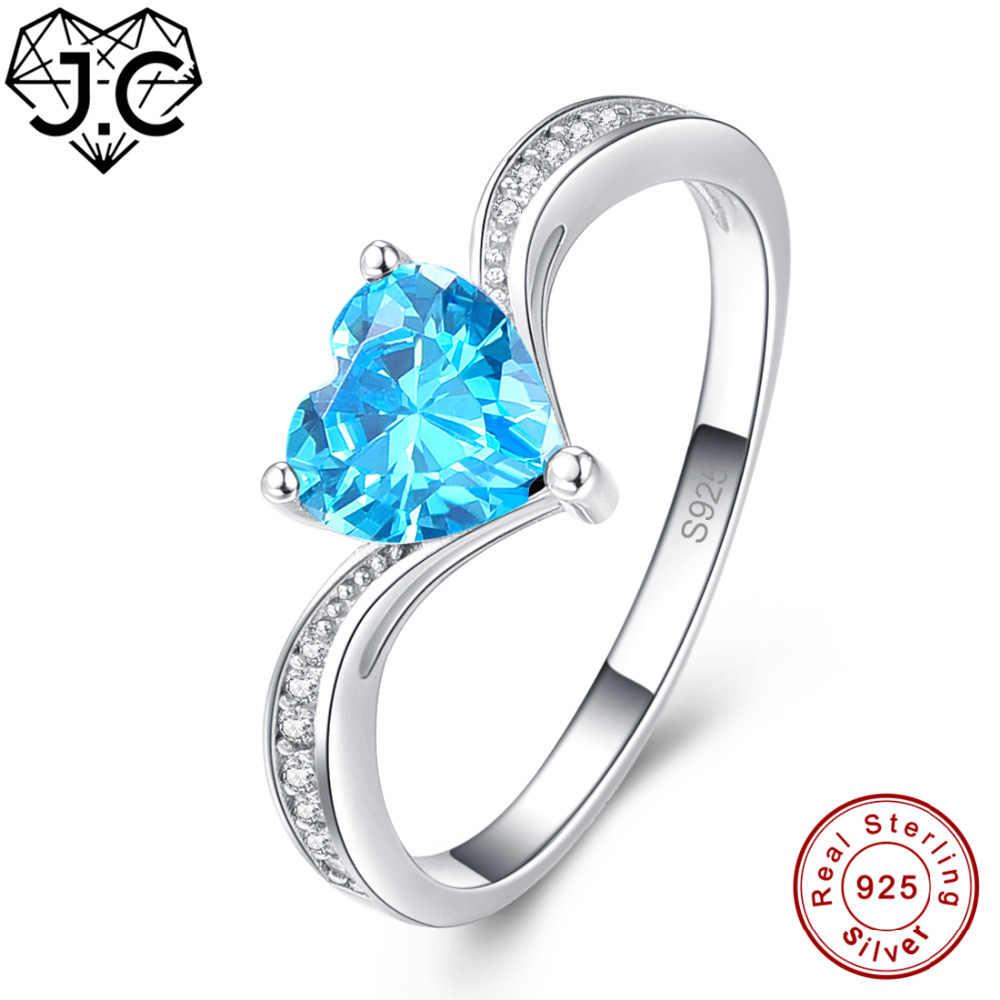 JC Herz Cut Romantische Schweizer Blau Weiß Topaz 925 Sterling Silber Ring Größe 6 7 8 9 Für Frauen Hochzeit edlen Schmuck