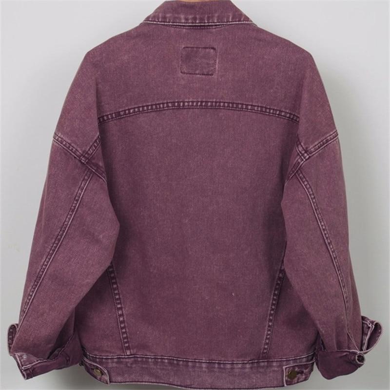 Harajuku ฤดูใบไม้ผลิ Denim แจ็คเก็ตสตรี 2019 ขนาดใหญ่ Vintage สีม่วงกางเกงยีนส์แจ็คเก็ตหญิงสุภาพสตรีลำลองพื้นฐานเสื้อผู้หญิง Streetwear-ใน แจ็กเก็ตแบบเบสิก จาก เสื้อผ้าสตรี บน   2