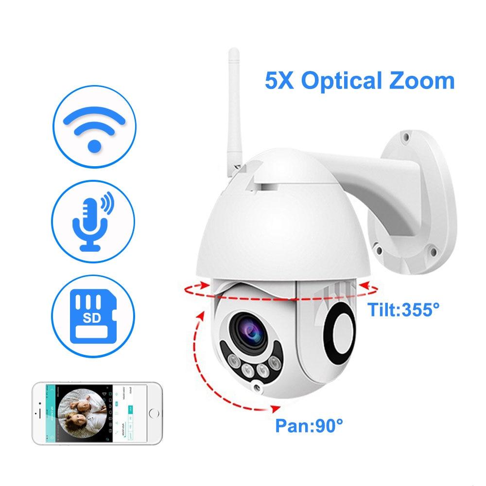 1080 P Wifi IP Caméra Extérieure Two Way Audio PTZ 5X zoom optique vision nocturne IR 60 M sécurité sans fil Vitesse caméra dôme P2P