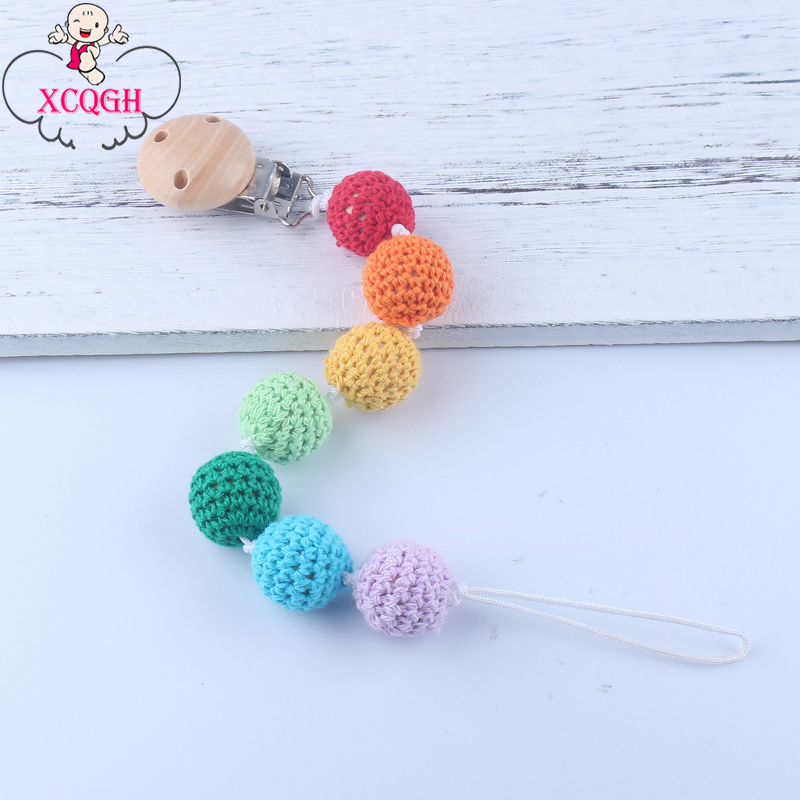 XCQGH Eco-friendly Crochet Beads Baby Pacifier Holder Chain Wooden Pacifier Clips Chain Infant Toddler Dummy Clip