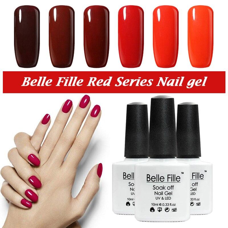 Belle Fille 12 colores Gel esmalte de uñas LED UV Soak-off Color brillante Capa de esmalte Gel de uñas LED UV Gel polaco Color de vino rojo