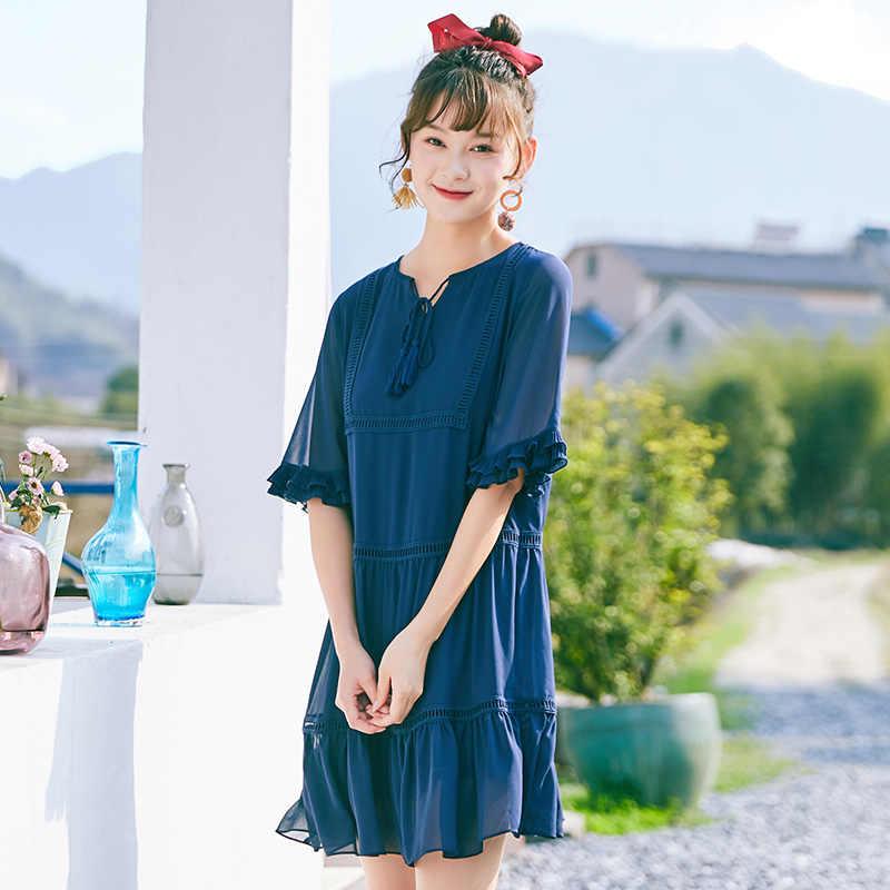 SEMIR 2019 женское платье горячая распродажа синий женский вязаный короткий рукав платье осень зима платье Дамское с круглым вырезом повседневное вечернее платье