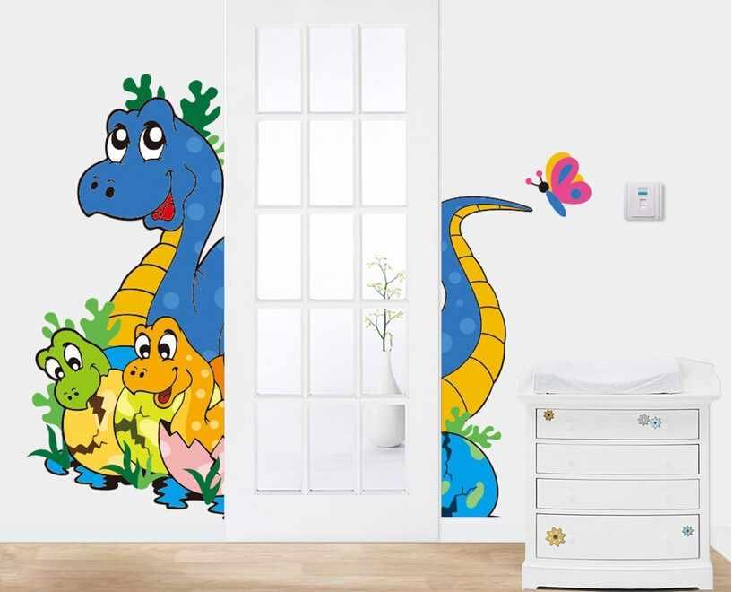 И 3D через динозавров Наклейки на стену таблички для детей номеров Книги по искусству для ребенка Детская комната украшения дома обои Дети C Книги по искусству ун Poste
